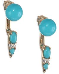 Nikos Koulis - Spectrum Turquoise & Diamond Drop Earrings - Lyst