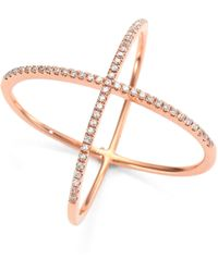 EF Collection - Diamond & 14k Rose Gold X Ring - Lyst
