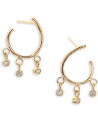 Zoe Chicco - Diamond & 14k Yellow Gold Front-to-back Hoop Earrings - Lyst