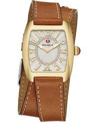Michele Watches - Urban Mini Diamond & Leather Double-wrap Strap Watch - Lyst
