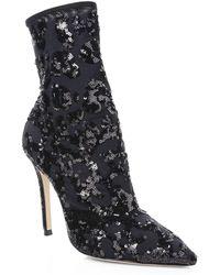 Gianvito Rossi - Women's Sequin Leopard Booties - Black - Size 35 (5) - Lyst
