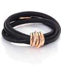 De Grisogono - Allegra Diamond, 18k Rose Gold & Leather Wrap Bracelet/black - Lyst