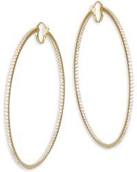 Adriana Orsini - Large Hinged Cubic Zirconia Oval Hoop Earrings - Lyst
