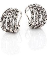 John Hardy - Classic Chain Small Sterling Silver Hoop Earrings/0.75 - Lyst