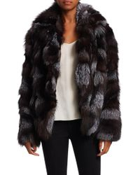 Halston - Dyed Fox Fur Patched Jacket - Lyst