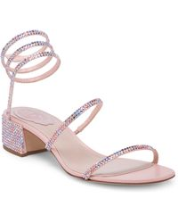 Rene Caovilla - Pink Crystal Ankle Wrap Sandals - Lyst