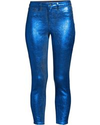 L'Agence Women's Margot Metallic Jeans - Navy Royal Blue Foil