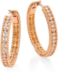 Roberto Coin - Symphony Diamond & 18k Rose Gold Hoop Earrings/0.75 - Lyst