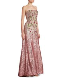 THEIA - Strapless Ombre Ball Gown - Lyst