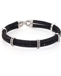 Stinghd - Black Diamond, Silver & Stingray Wrap Bracelet - Lyst