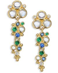 Temple St. Clair - Mare Diamond, Royal Blue Moonstone, Blue Sapphire, Tsavorite & 18k Yellow Gold Drop Earrings - Lyst