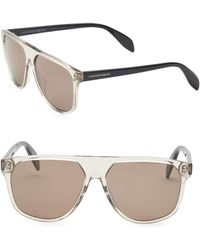 2fbc49fa718 Lyst - Alexander Mcqueen Silver Skull Aviator Sunglasses in Metallic ...