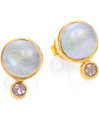 Shana Gulati - Ophelia Moonstone & Sliced Raw Diamond 18k Yellow Goldplated Stud Earrings - Lyst