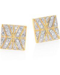 John Hardy - Modern Chain Diamond & 18k Yellow Gold Stud Earrings - Lyst