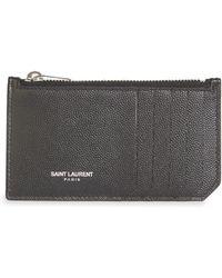 Saint Laurent - Leather Credit Card Holder - Lyst