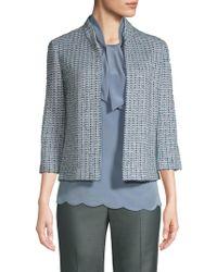 St. John - Cropped Tweed Jacket - Lyst