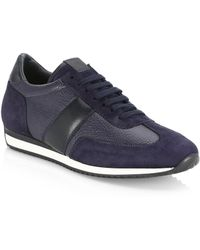 Saks Fifth Avenue - Collection Leather & Suede Sneakers - Lyst