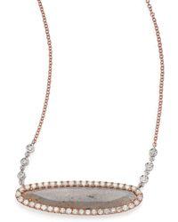 Meira T | Labradorite, Diamond & 14k Rose Gold Oval Pendant Necklace | Lyst