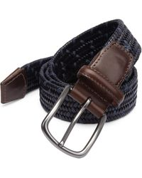 Saks Fifth Avenue - Navy Woven Leather Belt - Lyst