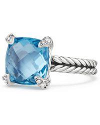 David Yurman - Chatelaine® Ring With Blue Topaz And Diamonds - Lyst