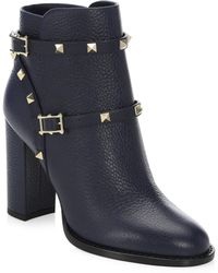 Valentino - Rockstud Leather Ankle Booties - Lyst