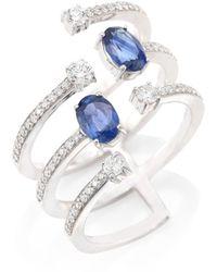 Hueb - Rainbow Diamond, Blue Sapphire & 18k White Gold Ring - Lyst