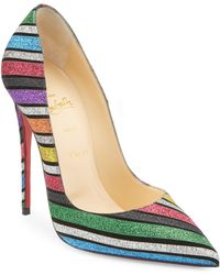 Christian Louboutin - Pigalle Follies 100 Striped Glitter Suede Pumps - Lyst