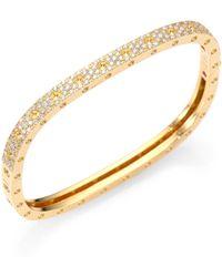 Roberto Coin - Pois Moi Pavé Diamond & 18k Yellow Gold Single-row Bangle Bracelet - Lyst