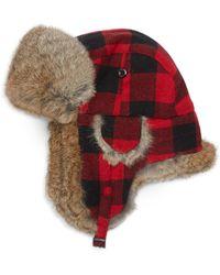 Crown Cap - Rabbit Fur Buffalo Check Trapper Hat - Lyst