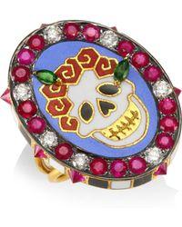 Holly Dyment - Diamonds & 18k Yellow Gold Gemstone Skull Ring - Lyst