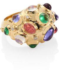 Temple St. Clair - Cosmos Bombe Diamond, Semi-precious Multi-stone & 18k Yellow Gold Ring - Lyst