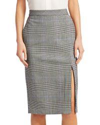 Theory - Plaid Zip Pencil Skirt - Lyst