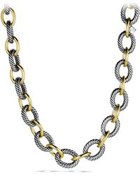 David Yurman - Oval Extra-Large Link Necklace With Gold - Lyst