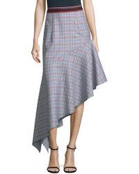 MILLY - Wool Asymmetrical Plaid Skirt - Lyst