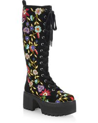 Alice + Olivia | Embroidered Leather Boots | Lyst