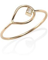 Zoe Chicco - Diamond & 14k Yellow Gold Open Teardrop Ring - Lyst
