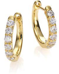 Jude Frances - Jude Diamond & 18k Yellow Gold Huggie Hoop Earrings/0.5 - Lyst