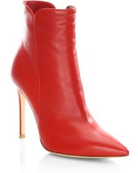 Gianvito Rossi - Point Toe Leather Booties - Lyst