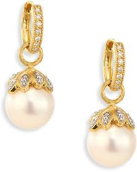Jude Frances - Sonoma Leaf Cap 10mm White Pearl, Diamond & 18k Yellow Gold Earring Charms - Lyst