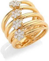 Hueb - Diamond Flower 18k Gold & Diamond Statement Ring - Lyst
