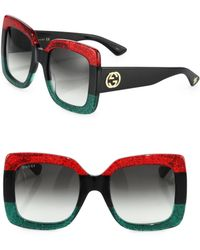 99c72401bced6 Gucci - 55mm Oversized Square Colorblock Sunglasses - Lyst