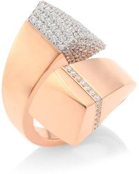 Roberto Coin - Prive Pave Diamond & 18k Rose Gold Bypass Ring - Lyst
