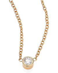 Zoe Chicco - Diamond & 14k Yellow Gold Pendant Necklace - Lyst