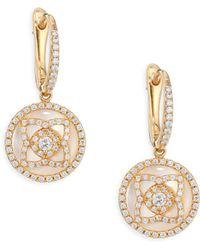 De Beers - Enchanted Lotus Rose Gold, Diamond & Mother Of Pearl Sleeper Earrings - Lyst