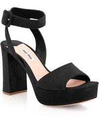Miu Miu - Suede Ankle-strap Platform Sandals - Lyst