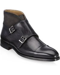 Saks Fifth Avenue - Collection By Magnanni Mixed Media Double Monk Shoes - Lyst