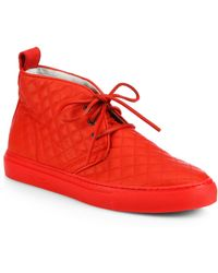 ebde7c23cc37 Del Toro - Men s Quilted Leather Chukka Sneakers - Red - Size 9 - Lyst