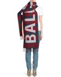 Balenciaga - Plaid Wool Logo Scarf - Lyst