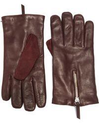 Want Les Essentiels De La Vie | Mozart Leather & Suede Zip Gloves | Lyst