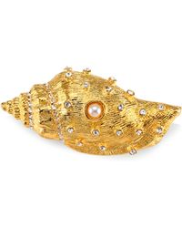 Kenneth Jay Lane - Crystal & Simulated Faux Pearl Shell Pin - Lyst